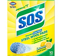 S.O.S Soap Pads Steel Wool Lemon Fresh Scent - 10 Count