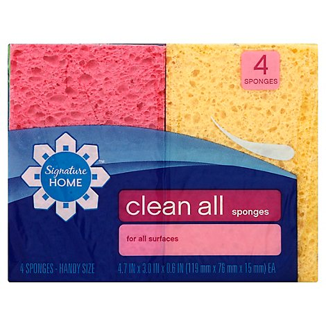 Signature SELECT/Home Clean All Sponges For All Surfaces Handy Size - 4 Count