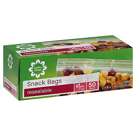 Signature SELECT Bags Snack Resealable BPA Free - 50 Count