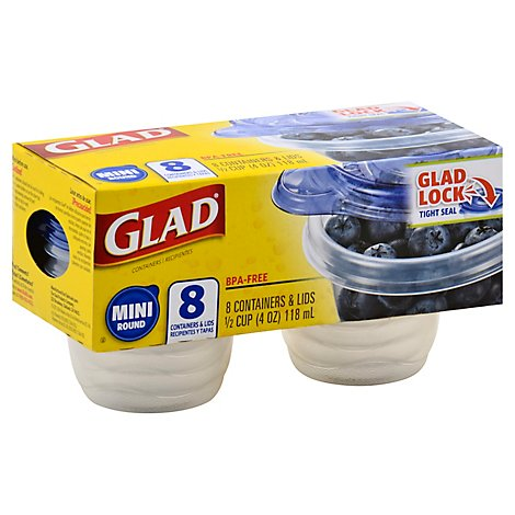 Glad Containers & Lids Mini Round 1/2 Cup - 8 Count