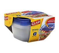 Glad Containers Tall Entree Food Storage - 3 Count