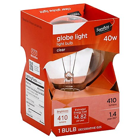 Signature SELECT Light Bulb Globe Clear 40W 410 Lumens - Each
