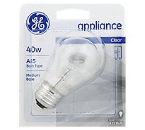 GE Light Bulbs Appliance A15 Clear 40 Watts - Each