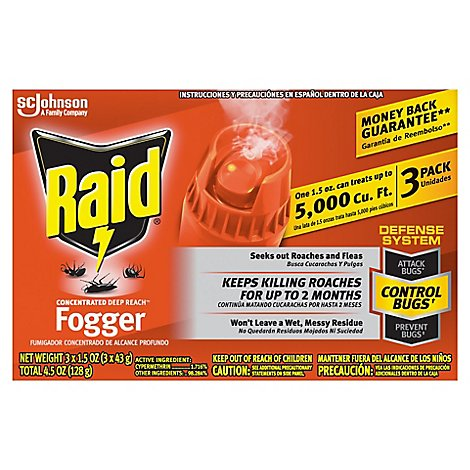 Raid Concentrated Deep Reach Fogger 6 oz (4 Fogger cans at 1.5oz each)