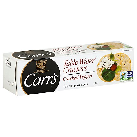 Carrs Table Water Crackers Cracked Pepper - 4.25 Oz