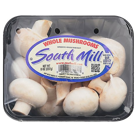 Mushrooms White Whole Prepacked - 8 Oz