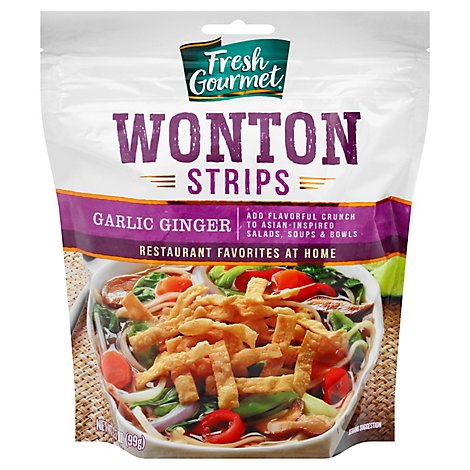 Fresh Gourmet Garlic Ginger Wonton Strips - 5 Oz