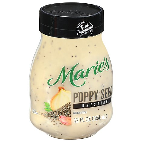 Maries Salad Dressing Real Premium Non Gmo Oil Poppy Seed - 12 Fl. Oz.