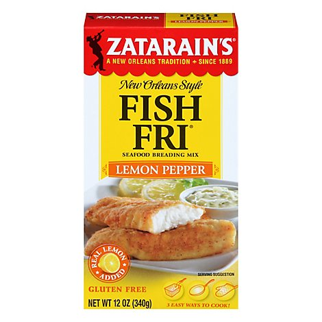 Zatarains New Orleans Style Breading Mix Seafood Fish Fri Lemon Pepper- 12 Oz