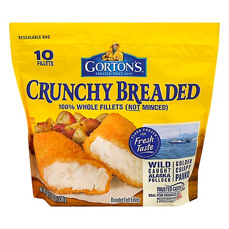 Gortons Fish Fillets 100% Real Wild Caught Crunchy Breaded 10 Count - 19 Oz