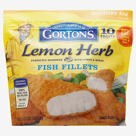 Gortons Fish Fillets Breaded Crunchy Lemon Herb - 18.3 Oz
