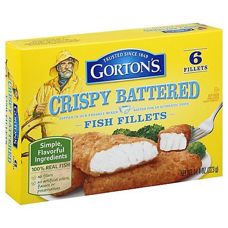 Gortons Fish Fillets Crispy Battered - 11.4 Oz
