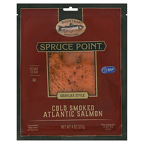 Ducktrap Spruce Point Smoked Atlantic Salmon Ready to Eat Gravlax Style - 4 Oz