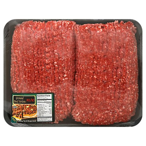 Meat Counter Beef Ground Beef 90% Lean 10% Fat Sirloin Value Pack - 3.50 LB
