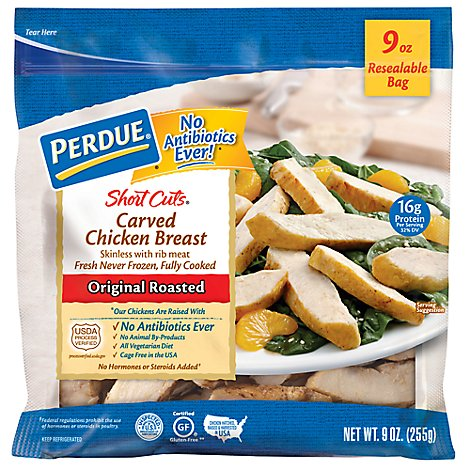 PERDUE Short Cuts Chicken Breast Carved Original Roasted - 9 Oz