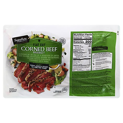 Signature Farms Beef Corned Beef Brisket Flat Cut - 3.50 LB