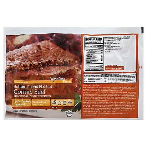 Signature Farms Beef Corned Beef Bottom Round Flat Cut - 3.25 LB