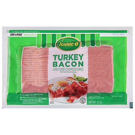 Jennie-O Turkey Bacon Cured Chopped & Formed 60% Less Fat Resealable - 12 Oz