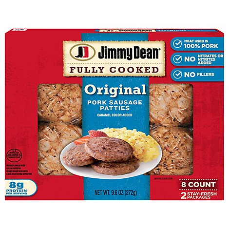 Jimmy Dean Fully Cooked Sausage Patties Original Pork 8 Count - 9.6 Oz