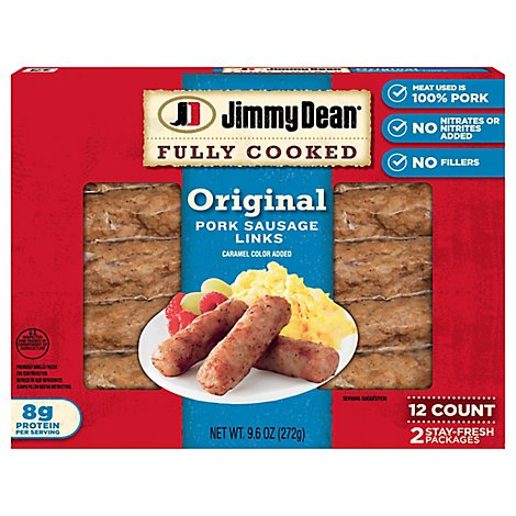 Jimmy Dean Fully Cooked Pork Sausage Links Original 12 Count - 9.6 Oz