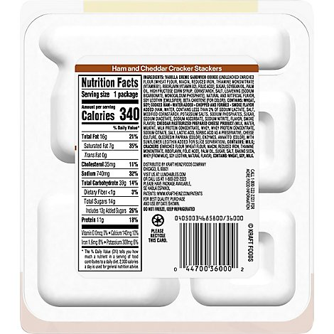Lunchables Lunch Combinations Cracker Stackers Ham & Cheddar - 3.5 Oz