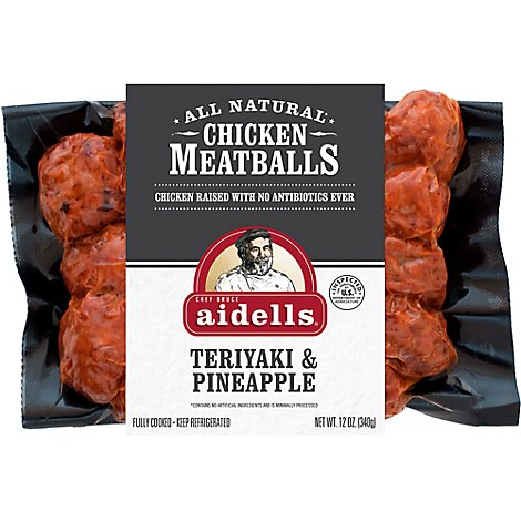 Aidells Chicken Meatballs Teriyaki & Pineapple - 12 Oz