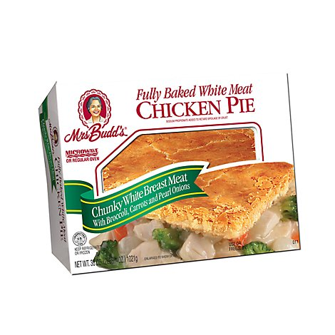 Mrs. Budds Fully Baked White Meat Chicken Pie With Broccoli Carrots And Pearl Onions - 36 Oz.