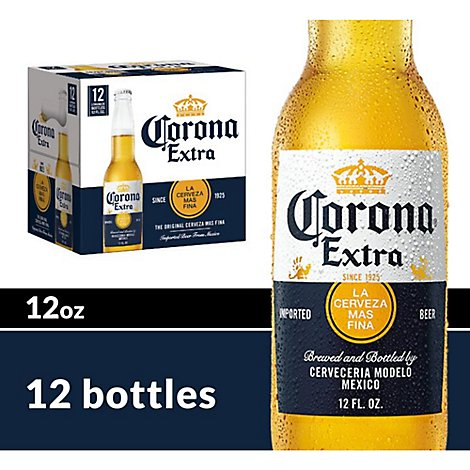 Corona Extra Beer Lager Mexican Bottles 4.6% ABV - 12-12 Fl. Oz.