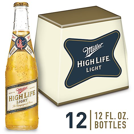 Miller High Life Light Lager Beer Bottles 4.1% ABV - 12-12 Fl. Oz.