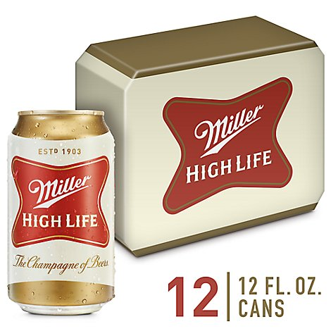Miller High Life Beer American Lager 4.6% ABV In Cans - 12-12 Fl. Oz.
