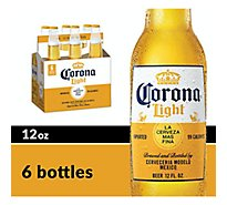 Corona Light Lager Beer Bottles 4.1% ABV - 6-12 Fl. Oz.