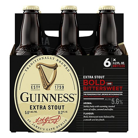 Guinness Extra Stout Beer Bold And Bittersweet Bottle - 6-11.2 Fl. Oz.