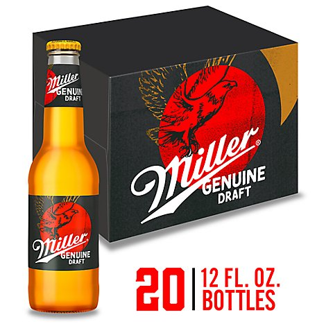 Miller Genuine Draft Lager Beer Bottles 4.6% ABV - 20-12 Fl. Oz.