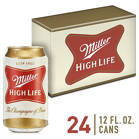 Miller High Life Beer Lager 4.6% ABV Cans - 24 - 12 Fl. Oz.