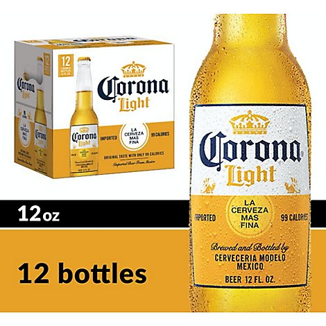 Corona Light Mexican Import Beer Bottles 4.1% ABV - 12-12 Fl. Oz.