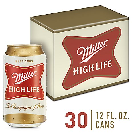 Miller High Life Beer American Lager 4.6% ABV In Cans - 30-12 Fl. Oz.