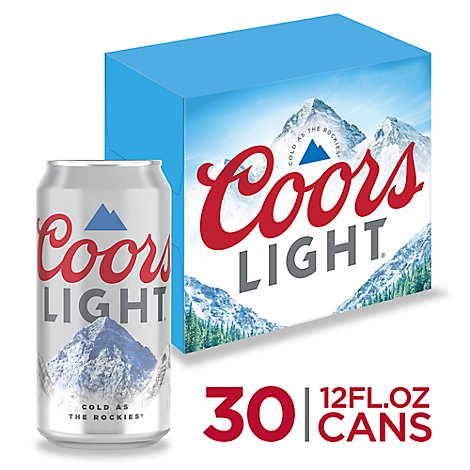 Coors Light Lager Beer Cans 4.2% ABV - 30-12 Fl. Oz.