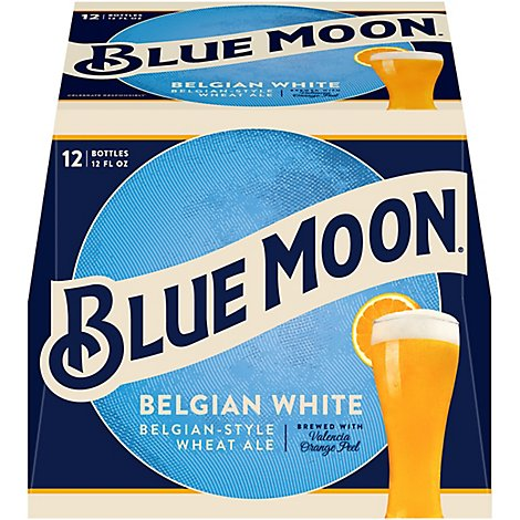 Blue Moon Belgian White Belgian Style Wheat Ale Beer Bottles 5.4% ABV - 12-12 Fl. Oz.