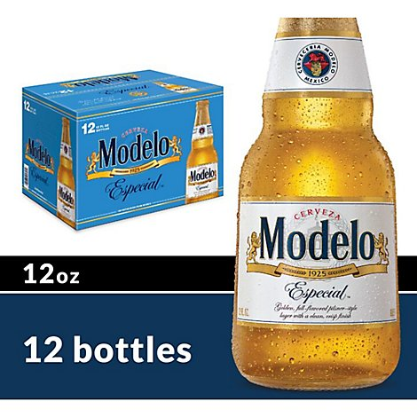 Modelo Especial Beer Mexican Lager 4.4% ABV Bottles - 12-12 Fl. Oz.