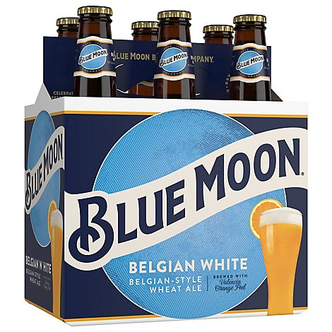 Blue Moon Belgian White Beer Craft Wheat 5.4% ABV Bottle - 6-12 Fl. Oz.