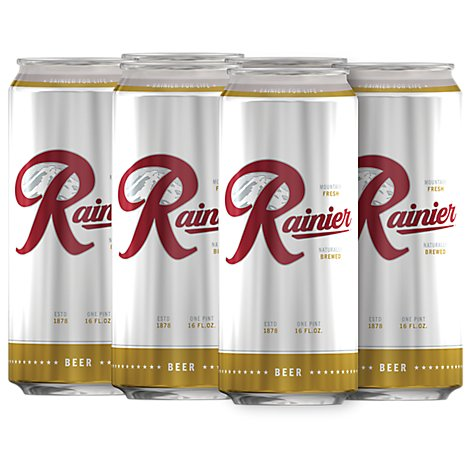 Rainier Beer Lager Cans - 6-16 Fl. Oz.