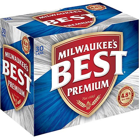 Milwaukees Best Premium Lager Beer Cans 4.8% ABV - 30-12 Fl. Oz.