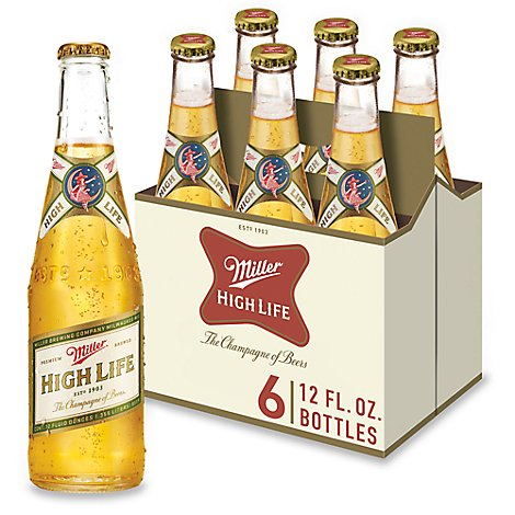 Miller High Life Beer Lager 4.6% ABV Bottles - 6 - 12 Fl. Oz.