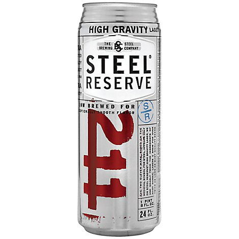 Steel Reserve Beer Lager High Gravity 8.1% ABV In Can - 24 Fl. Oz.