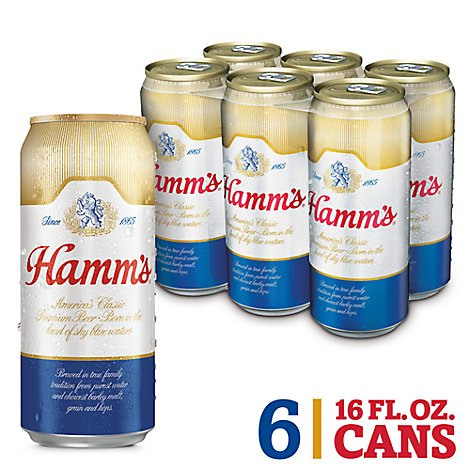 Hamms Beer Lager Premium Americas Classic 4.7% ABV In Cans - 6-16 Fl. Oz.
