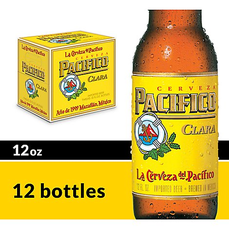 Pacifico Clara Beer Mexican Lager 4.4% ABV Bottle - 12-12 Fl. Oz.