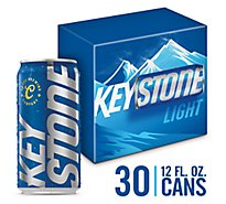Keystone Light Lager Beer Cans 4.1% ABV - 30-12 Fl. Oz.