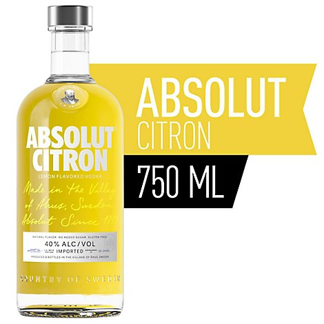 Absolut Vodka Citron 80 Proof - 750 Ml