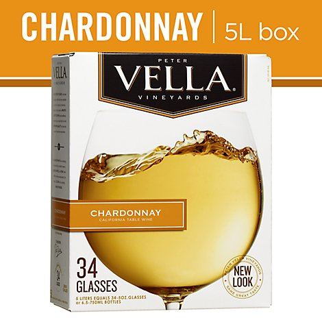 Peter Vella Chardonnay White Box Wine - 5 Liter