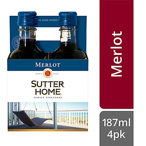Sutter Home Wine Merlot California - 4-187 Ml